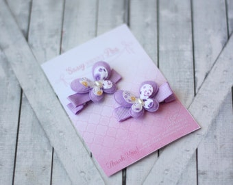 Shabby Chic Purple Butterfly Clips Set