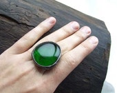 Green romantic large RING,  Statement ring, cocktail ring, by MARIAELA