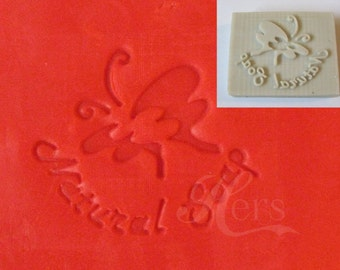 """Handmade Cookie Stamp Seal Soap Stamp - Butterfly with Text """"Natural Soap"""""""