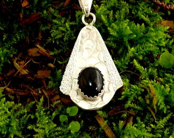 Nugget and Onyx Pendant Sterling Silver