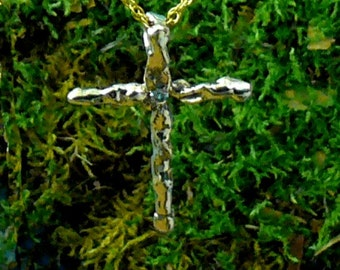 Water Cast Abstract Cross Pendant 14 kt Gold with 3 pt Diamond One of a Kind