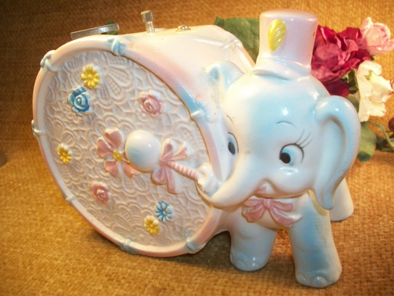Napcoware Music Box Rock A Bye Baby Circus Elephant Drum