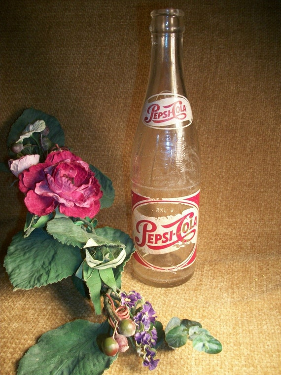 Pepsi cola glass bottle 12 ounce long thin neck antique 1950s like this item sciox Image collections