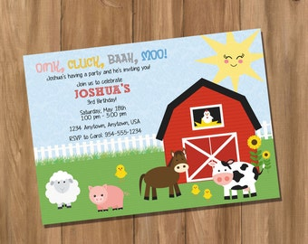 Farm Birthday Party Invitation (Digital - DIY)