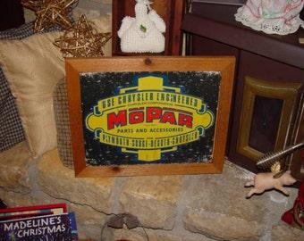 Chrysler Mopar custom framed solid cedar wood 15X18 man cave metal vintage sign oak finish country rustic wall hanging display