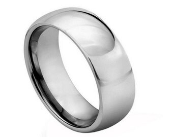 Personalized Tungsten Carbide Polished Shiny Domed Ring 8mm