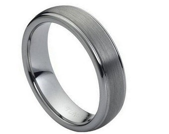 Personalized Tungsten Carbide Domed Brushed Center High Polish Ridge Edge 6mm