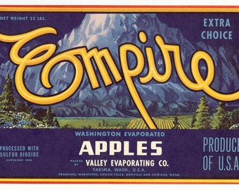 Vintage Label, Fruit Box, Yakima Washington, Empire, Blue and Yellow