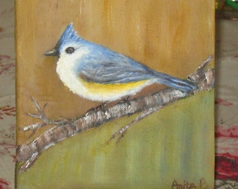 Tufted Titmouse Songbird ~ Original Oil Painting ~ includes shipping