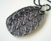 Lace impressed goth black teardrop shaped pendant with necklace, handmade pottery shabby chic statement jewelry