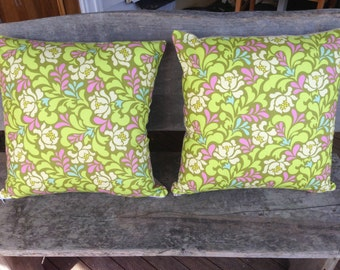 "Pair of Cushions/pillows in Sway in Lime, Heather Bailey Pop Garden Fabric With a Gorgeous ""Est"" Linen Back"