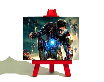 IRON  MAN 3 - Tony Stark - Downey Jr - Awesome Miniature Desktop Canvas and Easel Set - The Perfect Gift
