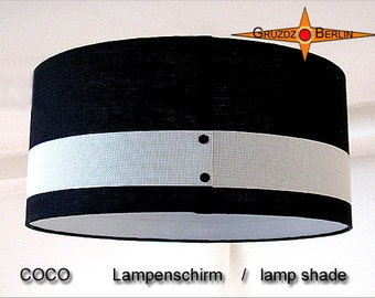 Lamp shade black white Linen COCO Ø45 cm drum lampshade