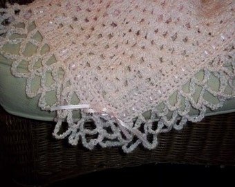 Pink Hand Crocheted Luxe Baby Blanket  READY TO SHIP