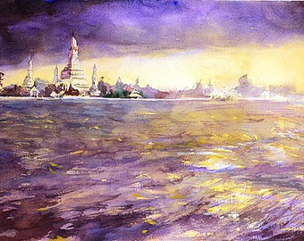Painting of sunset w/ Chao Praya river & Buddhist temple of Wat Arun in Bangkok, Thailand.  Thai painting fine art watecolor painting print