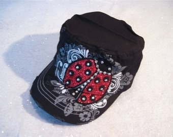 "Lady Bug Cap "" My Lucky Little Lady Bug """
