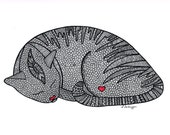 Black and White Zentangle Sleeping Cat drawing Print