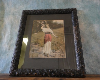 Antique Victorian Carved Black Gesso Frame and Roman Maiden Print