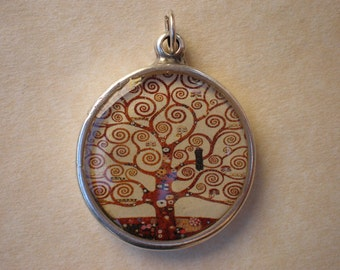 """Resin pendant with printed illustration of the """"tree of life"""" by Gustav Klimt"""