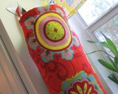 Grocery plastic bag holder/ Napkin holder/ Cloth wipes holder/ Toilet paper holder red spanish style print