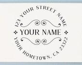 Personalized Address Stamp - Custom Address Stamp - Simple Retro Style - AA34