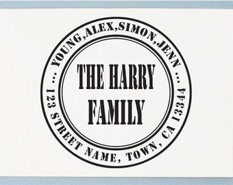 Personalized Rubber Stamp - Custom Return Address Stamp - Retro Family Name Design - AA18