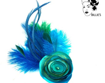 Hair accessory Julietta: emerald green, turquoise feathers...