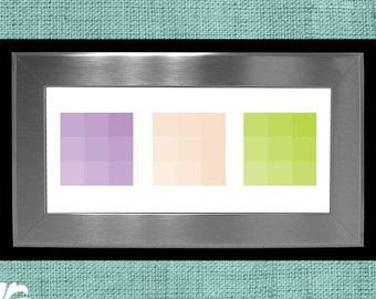 Spring Pantone 2013 Color Print - 8 x 16 - Linen/African Violet/Tender Shoots - Custom Colors Available - Modern, Geometric, Minimalist