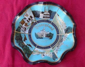 Vintage Disneyland Scalloped Candy Dish showing 1970's Disneyland Lands