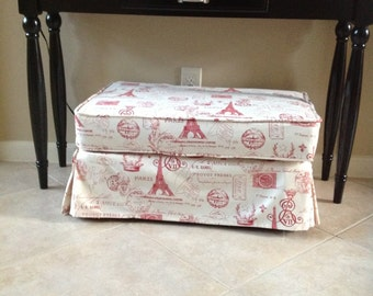 Ottoman slipcover with cushion cover