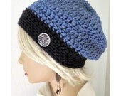 Blue Slouchy Beanie, Winter Hat, Hand Crocheted Beanie, Beanie, Women's Slouchy Beanie, knit hat, hat with button