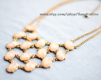 New--Fleshcolor bubble necklace,holiday party,bridesmaid gifts,Beaded Jewelry,statement necklace, gold tone chain