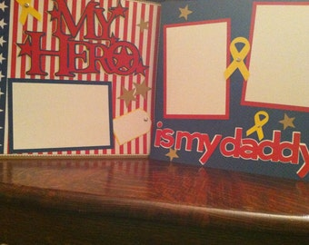 Daddy Is My Hero Pre Made 12 x 12 Double Page Layout