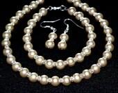 Champagne Pearl Bridal Set jewelry