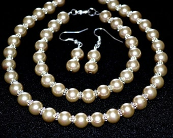 Champagne Pearl Bridal Set jewelry