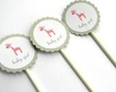 12 Giraffe Baby Girl Cupcake Toppers. Giraffe Theme. Baby Girl Shower. It's a Girl. Pink Giraffe. First Birthday.