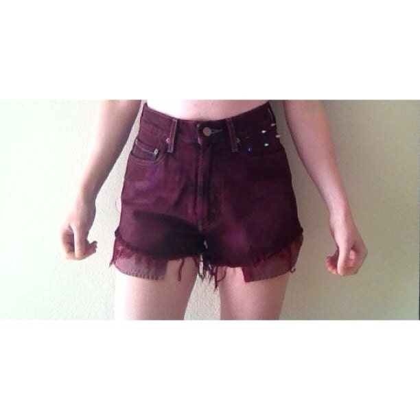 MAROON SPIKED HIGH WAISTED SHORTS on The Hunt