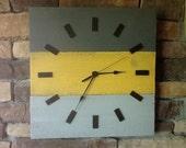 Wood clock, Rustic wall clock yellow and grey