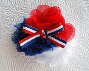 Red, White and Blue Newborn Headband, Baby Headband, Toddler Headband, Girls Headband, Teen Hair Clip, Adult Hair Clip, Photo Prop!
