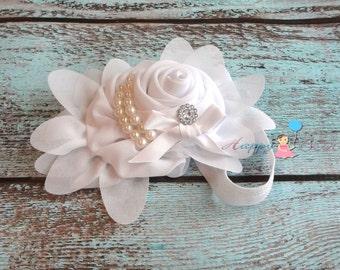 Baby girl headband, White Chiffon Rosette headband, baby headband, baptism headband, wedding headband, christening, birthday headband