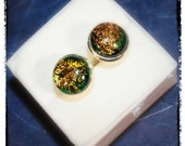 Dichroic Fused Glass Glass Silver Cuff Links