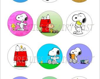 Snoopy Digital 4x6 1 inch Collage Sheet for Scrapbooking, Cupcake Toppers, Bottle Cap Images and More