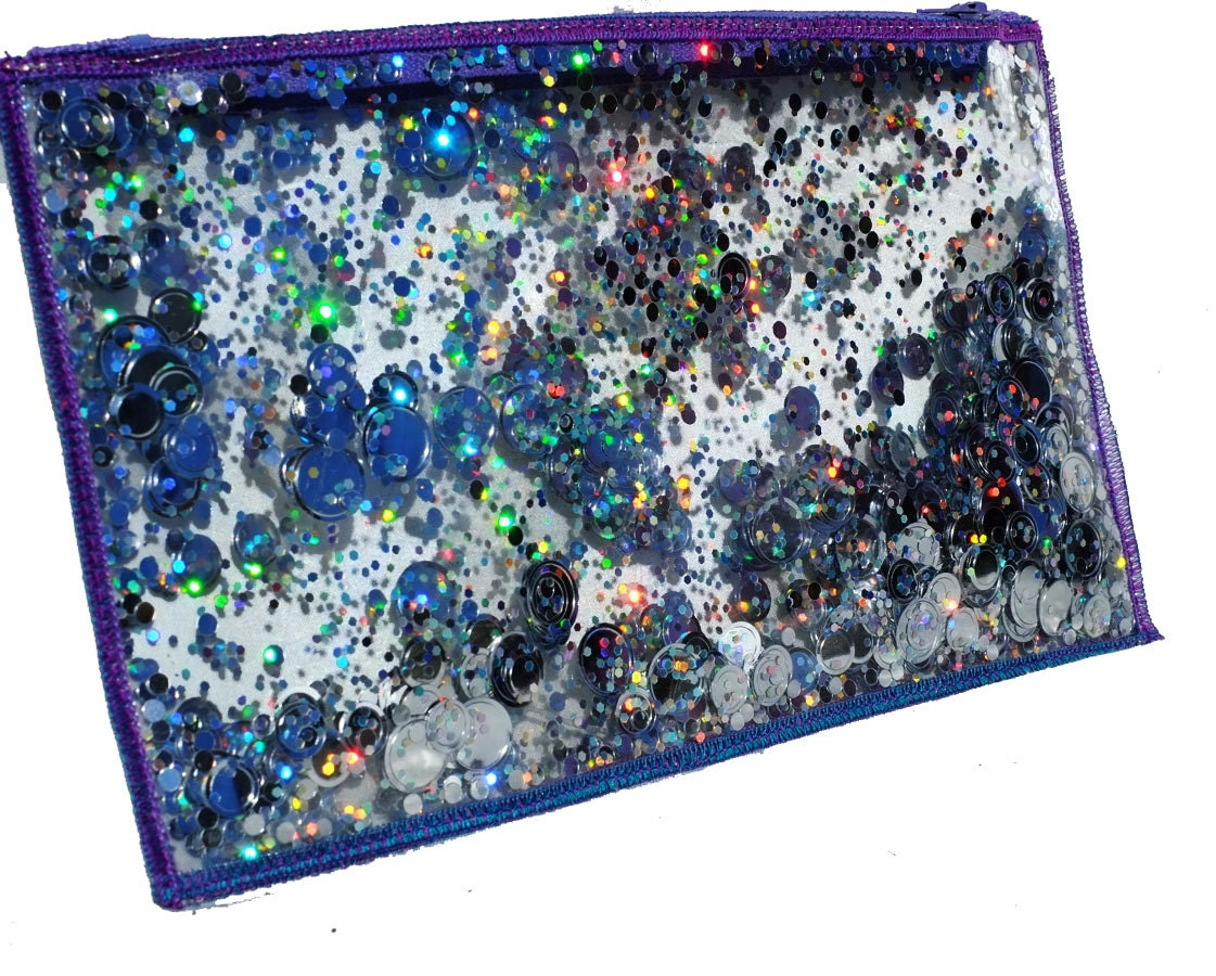 Holographic Glitter Bag Cool Pencil Case Clear Makeup Pouch