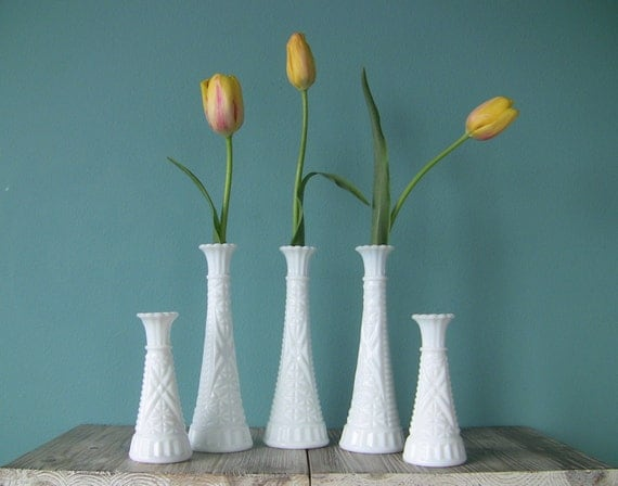 Beautiful Instant Collection of 5 Vintage Milk Glass Vases-Wedding Decor-Table Setting-Centerpiece-Home Decor