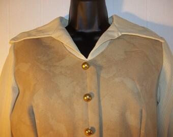 Vintage Beige Long Dress,  Size 12.  V Neck Beige Dress