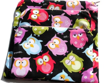 Handmade Reusable Sandwich Snack Zipper Bags set of 3 Owls
