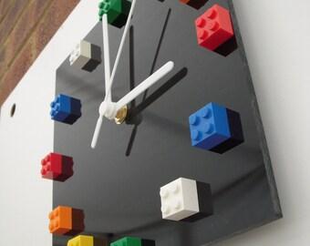 Multicolour LEGO® bricks on black gloss acrylic square wall clock