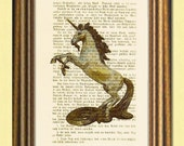 THE LAST UNICORN - Fantastic beasts - Dictionary art  print - Wall art