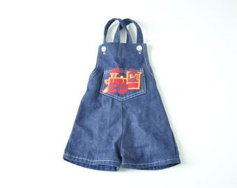 SALE: Vintage Blue Denim Overall Shorts with Train Icon for Baby Boy 3-6 mos