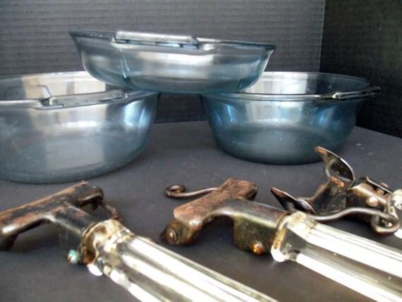 Vintage Pyrex Blue Flameware 3 pc Cooking Set with Detachable Glass Handles